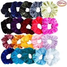wholesale elasticity velvet hair scrunchies ponytail holder for lady girls