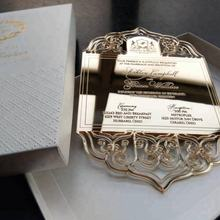 Elegant Laser Cut Engraved Gold Mirror Acrylic Wedding Invitations with Embossing Wedding Invitation Boxes