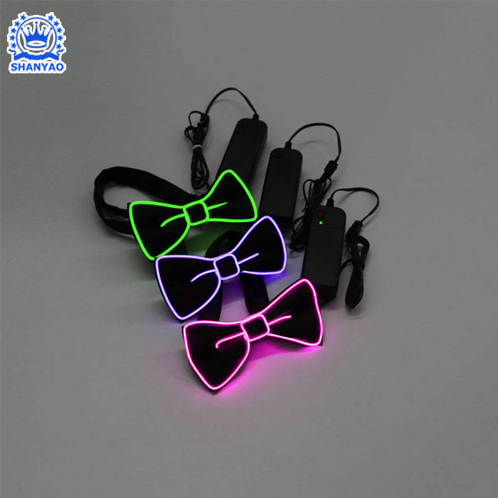 Light Up Neon Rope Light Bow Tie Glowing EL Wire Bow Tie For Wedding Decoration