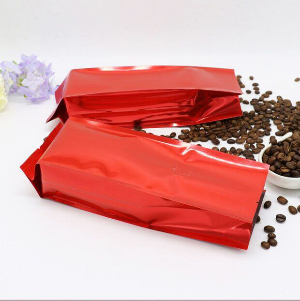 Heat Seal Plastic Foil Side Gusset Coffee Bag with Tin Tie /Coffee Pouch with valve