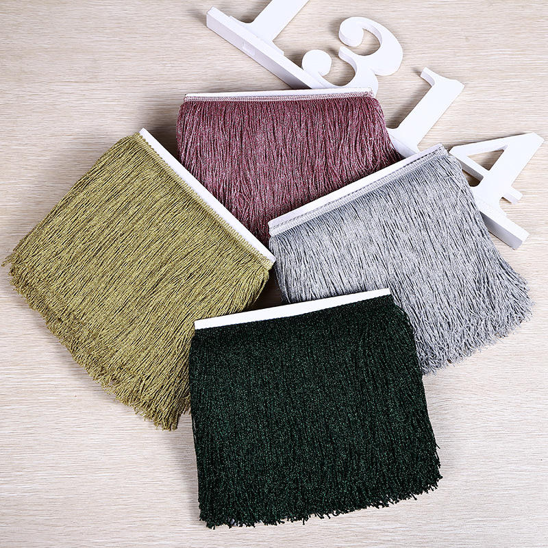 Wholesale High Quality 20CM Metallic Polyester Tassel Fringe for Dress