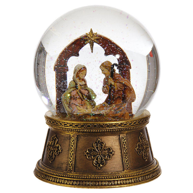 Nativity Resin Snow Globe Resin Hand Made Resin Christmas Nativity Set Snow Globe With Gold Base