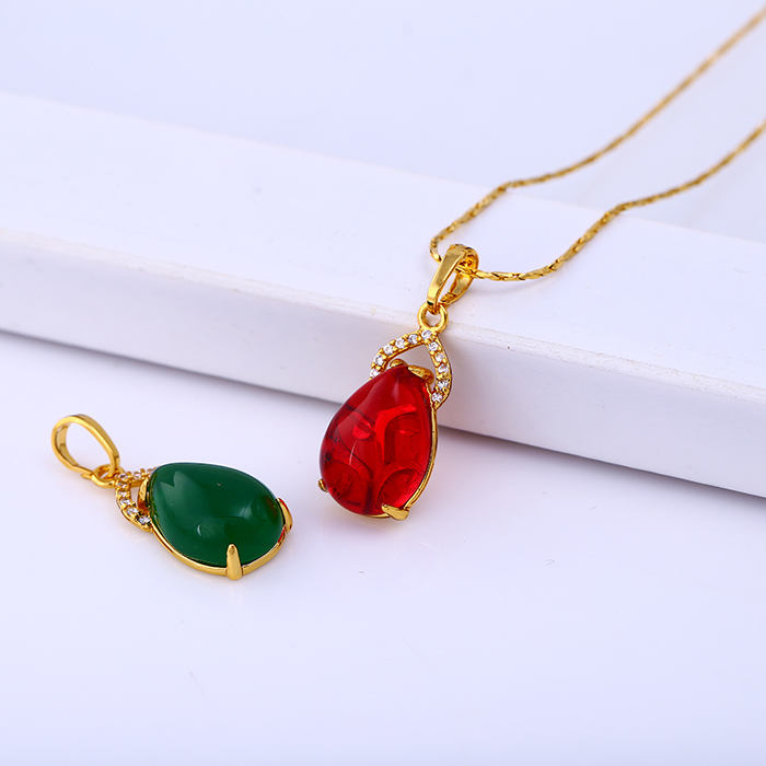 31462 xuping fashion simple brass costume red agate jade pendant for ladies