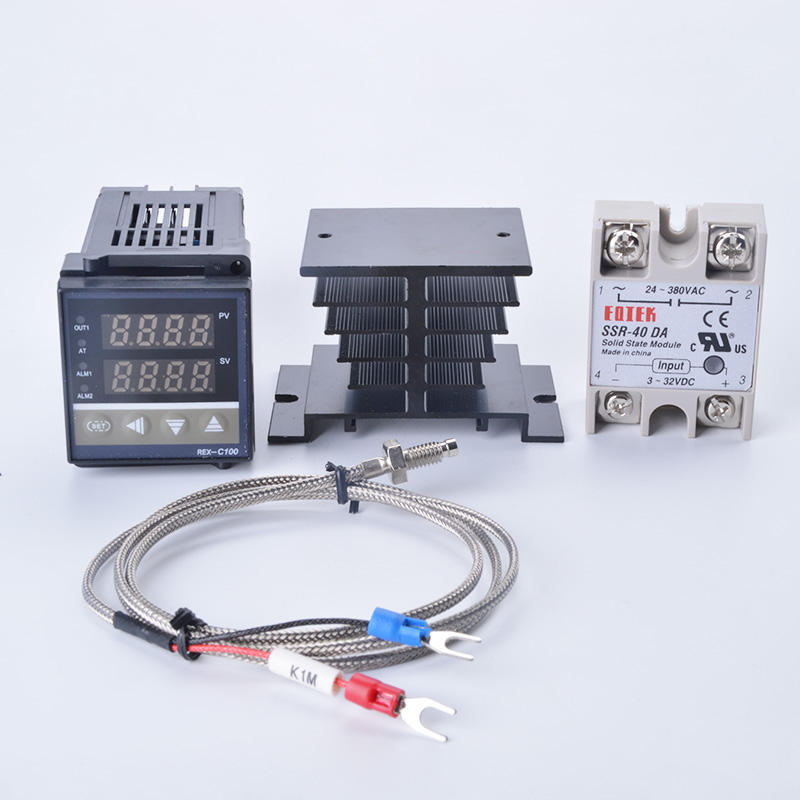 Digital PID Temperature Controller REX-C100 REX C100 Thermostat พร้อม 40DA SSR รีเลย์,K Thermocouple 1 M Probe RKC