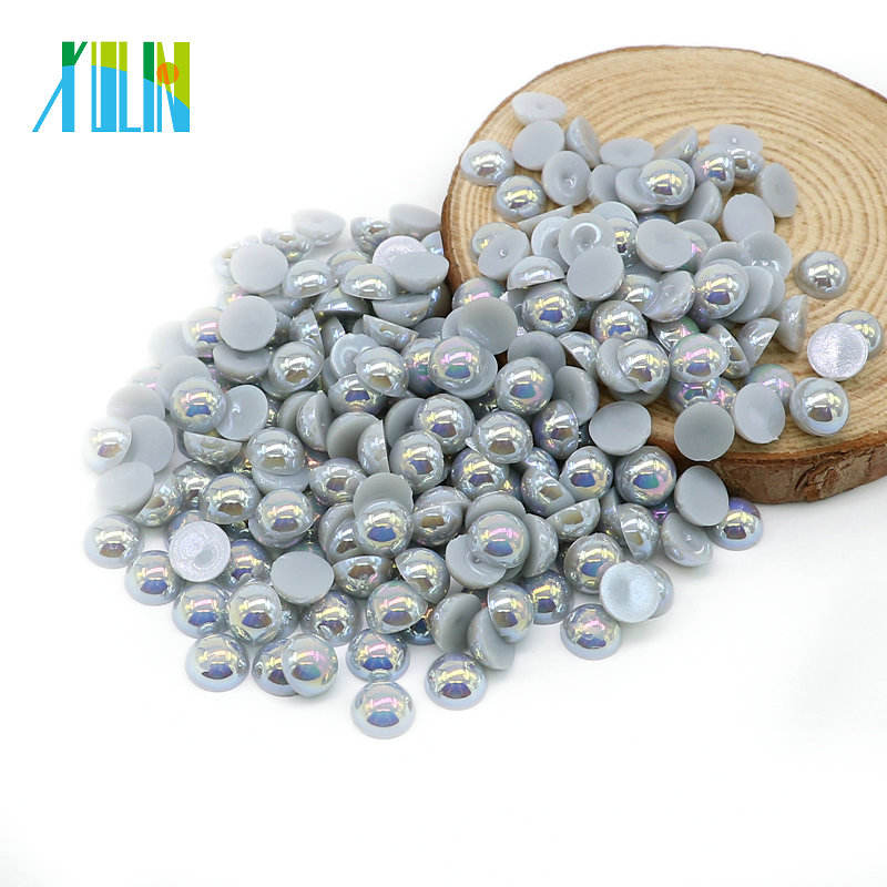 A23-Lt.Silver Grey AB DIY Half Round ABS Pearl Beads for Nail Art