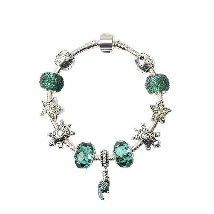 2018 New Fashion Parrot Charms Bracelet with Green Glass Beads DIY Bracelet for Women Jewelry Gift