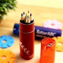 3.5'' 6 mini color pencil Set in Tube with sharpener