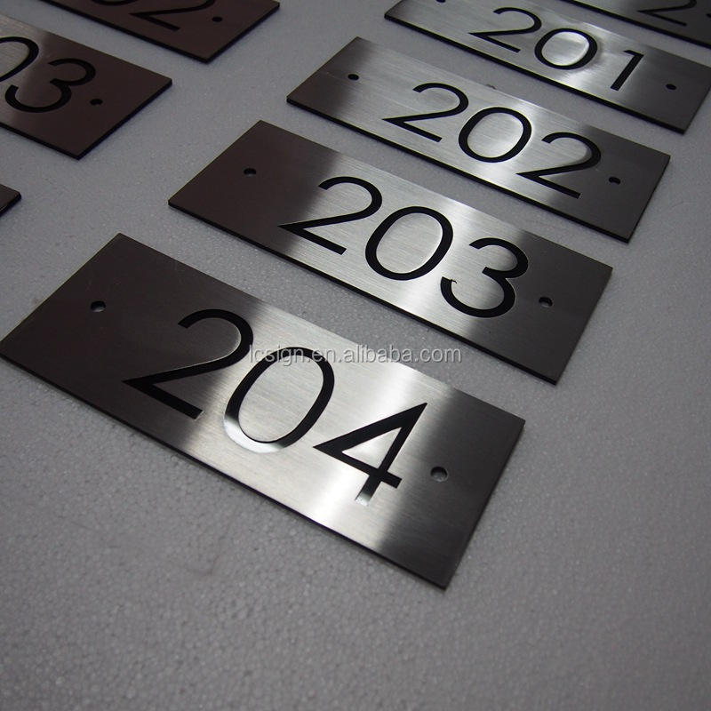 Stainless steel 304 wall mounted door plate 3M glue house number metal letters signs