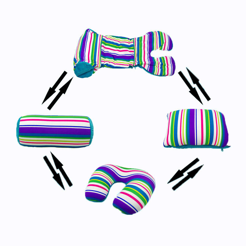 3 in 1 foam beads neck travel pillow with printed stripe fabrics