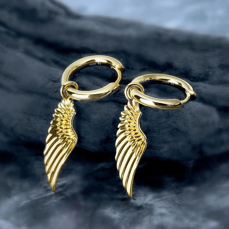KRKC&CO Hip Hop Hoop Earrings with Angel Wing Charm Small Hoop Earrings Silver Gold Hoop Earrings