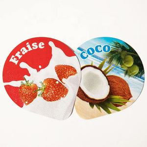 Embossed heat sealing aluminium foil with colorfu printed for plastic cup