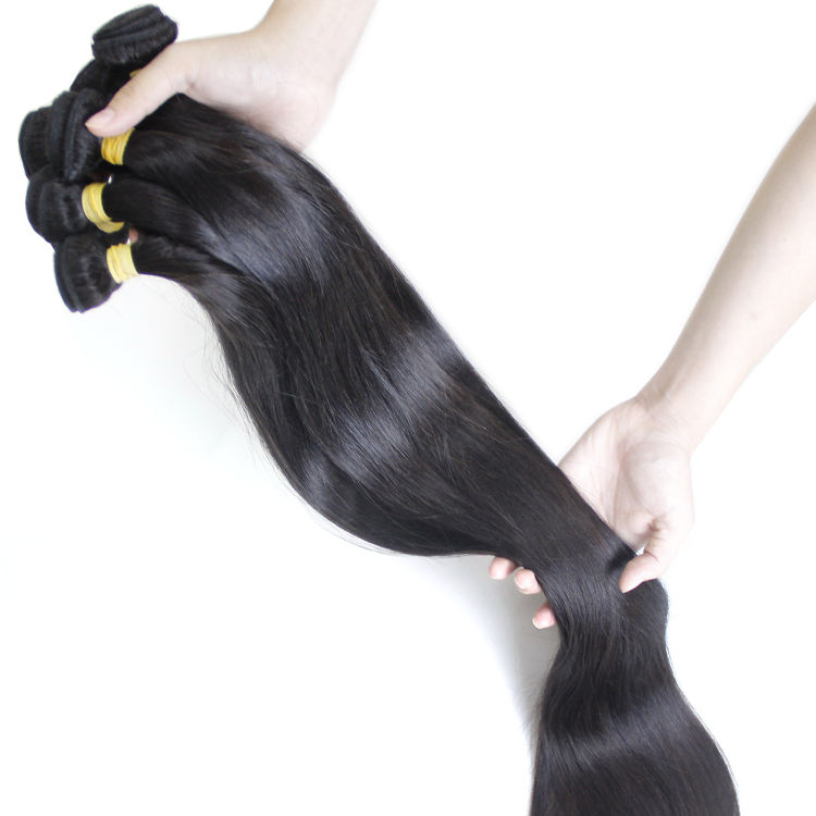 100% Virgin natural unprocessed real virgin mink Brazilian 40 50 60 inch long silky straight hair bundles human extensions