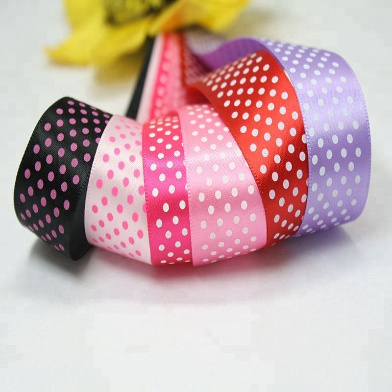 Yama dot design polyester grosgrain satin double faced dot printed ribbon