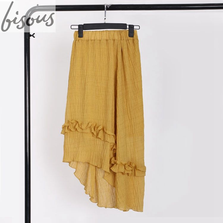 Summer women yellow long skirt asymmetrical hem small flounce in seersucker fabric women beach maxi skirt
