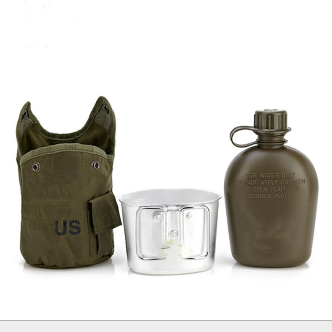 Outdoor US 1 Quart 1Lwater bottle Kettle Canteen Aluminum Cup Kit and pouch case Hiking Camping use, 1 Quart