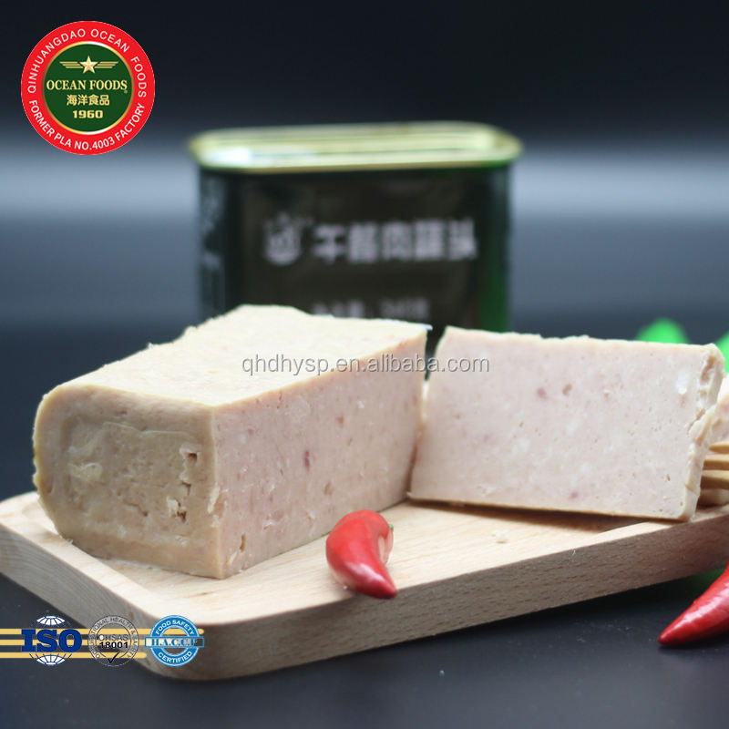 Military Factory Supply 340g Ready Eat Square Canned pork luncheon meat