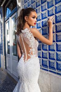 Luxury Lace Wedding Dress Backless Mermaid Bridal Gown Dresses Sleeveless Bridal Gowns With Cape