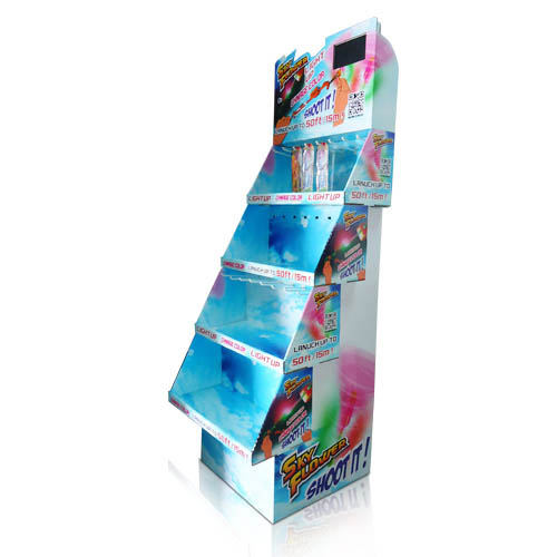 Eye catching graphics cardboard stacked PDQs floor display shelves with video player for gift, display boxes with pegs standee