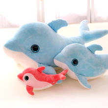 1 piece size 30 cm Cartoon 3d eyes dolphin plush toy baby child pillow cushion doll valentine day christmas birthday present