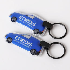 Gifts & crafts factory mini car shaped squeeze light flashlight led keychain with logo