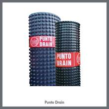 Puntodrain, Protective sheet for drainage and insulation made up of high density polyethelene (HDPE).