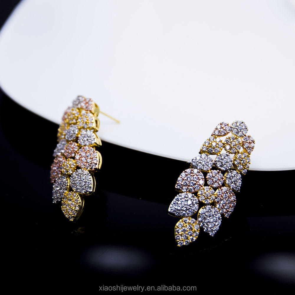 New design micro pave brass earrings for ladies