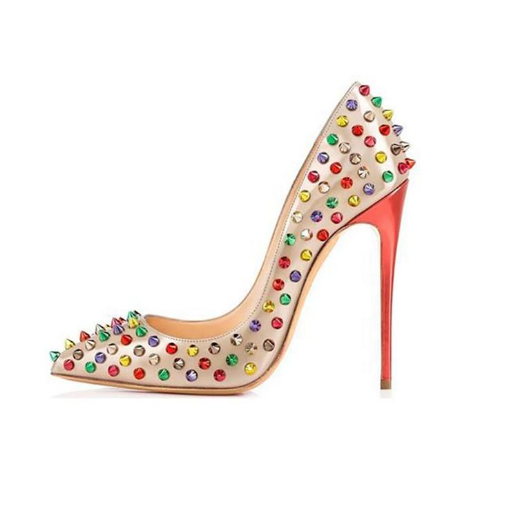 Multi color blooming beauty studded Havaii 10cm pointed toe pumps