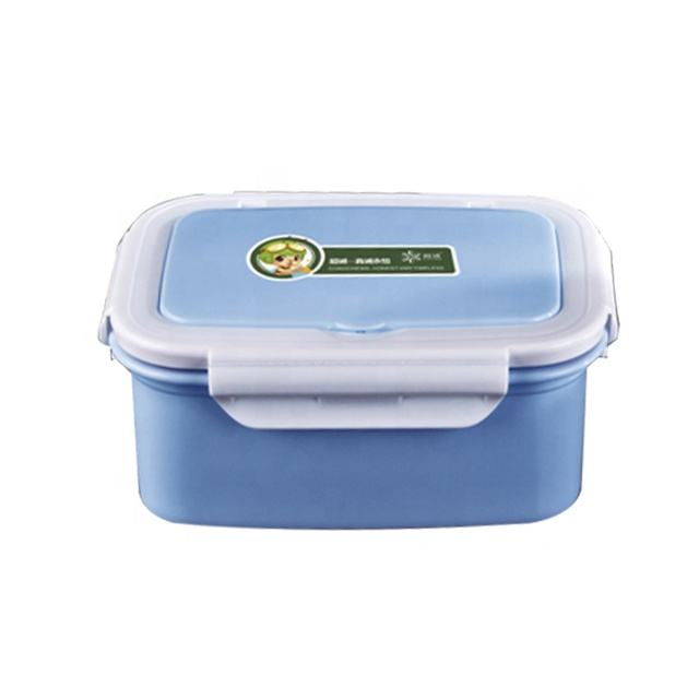 Good quality double walls plastic lunch box with 304 stainless steel inner with spoon & fork