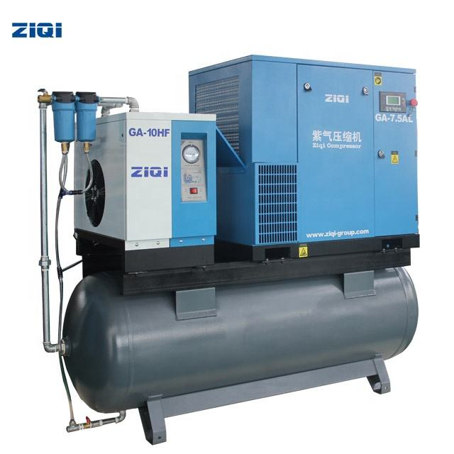 Full Feature Oil Injection Rotary 10hp Screw Air Compressor With Tank Air Dryer Filter
