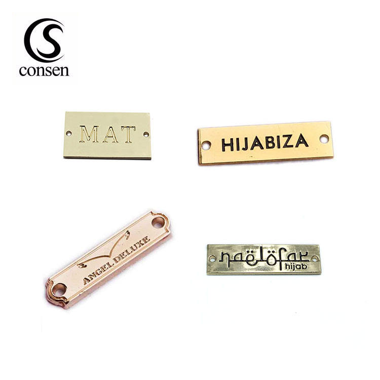 USA standard environmental custom brand name engraved clothing metal logo labels for coat/swimwear