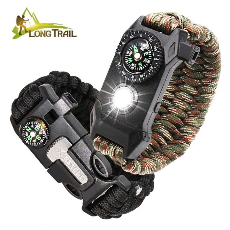 Brand Nieuwe 5 In 1 Survival Tactical Fluitje Kompas Fire Starter 550 Paracord Armband Met Flint