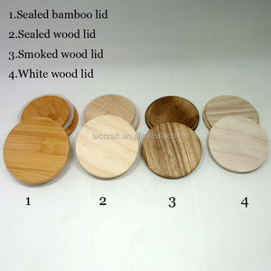 Custom wood lid bamboo lid for glass candle holder jar with silicone ring