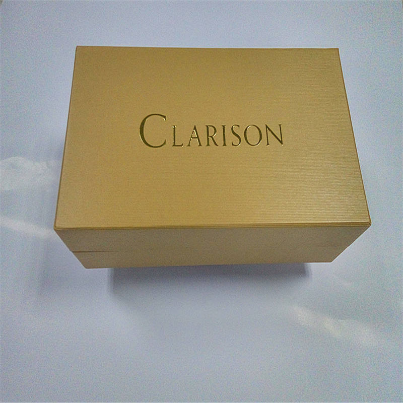 Recyclable Cardboard Yellow Color Shoulder style rigid box for the high heel packaging with Gold foil stamped logo.
