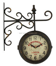 Round Wall Mount Station Clock Garden Retro Home Decor Metal Frame Glass Dial Cover Double Sided Wall Clock