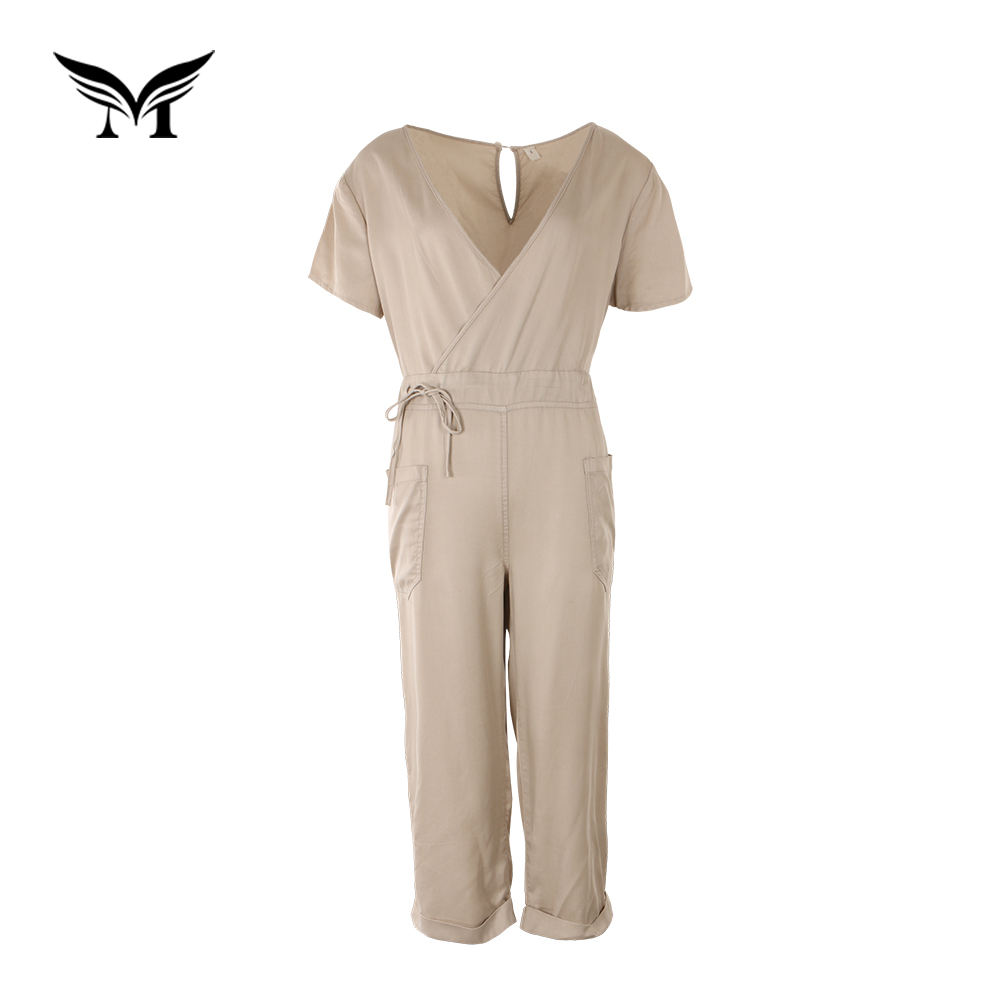 Factory direct soft plain dyed custom made tencel ladies short sleeve jumpsuit prices for fat ladies