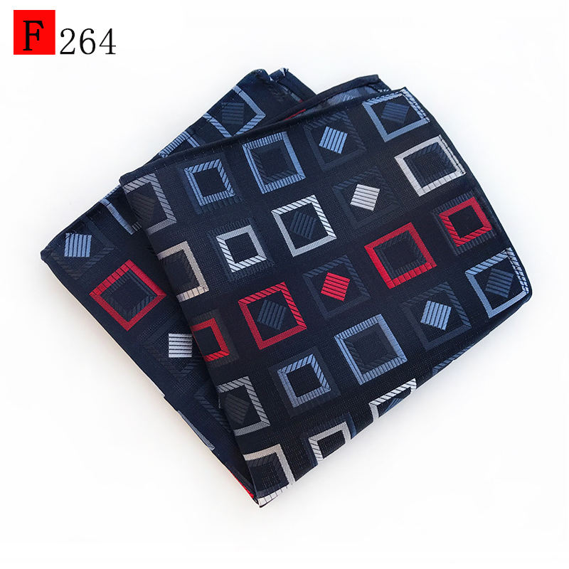 Geometric square maze pattern printed red and blue polyester woven high quality mens party pocket square