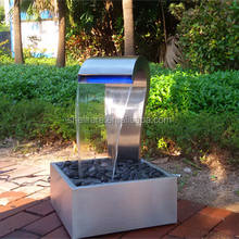 Hot sell stainless steel garden waterfall water fountain with led light