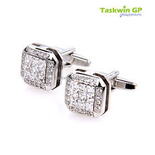 Crystal customized wedding accessories metal cufflink for man