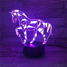 Amazing Customized Color Changing Lucky Unicorn Design lamp 3D Visual LED Night Light