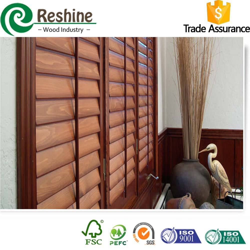 Walnut color Paulownia shutter wood louver panels