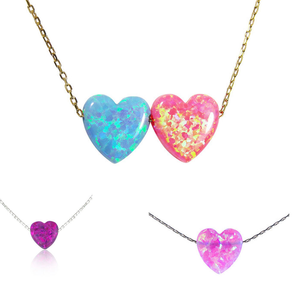 Superstar Accessories 925 Italy Sterling Silver Necklace Jewellery Created Opal Pink Heart Shape Pendant