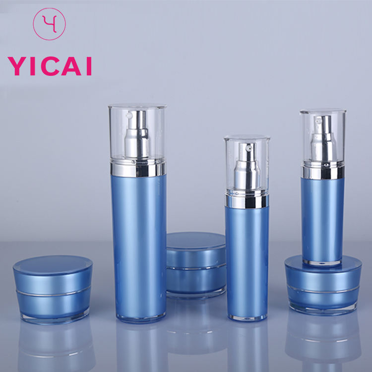 YICAI Free Sample Cone Shape Foundation Acrylic Makeup Liquid Lotion Pump Bottle 15/30/50/80/120ml