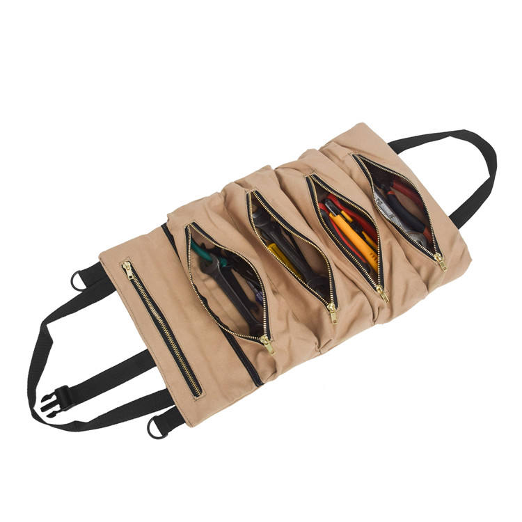 Multi-Purpose Portable Super Canvas Car Storage Organizer Tool Wrench Roll Up Pouch Wrap Bag with 5 Zipper Pockets