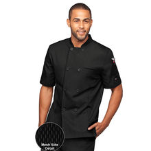 mens chef coat with mesh cloth side  whosale China factory chef uniform