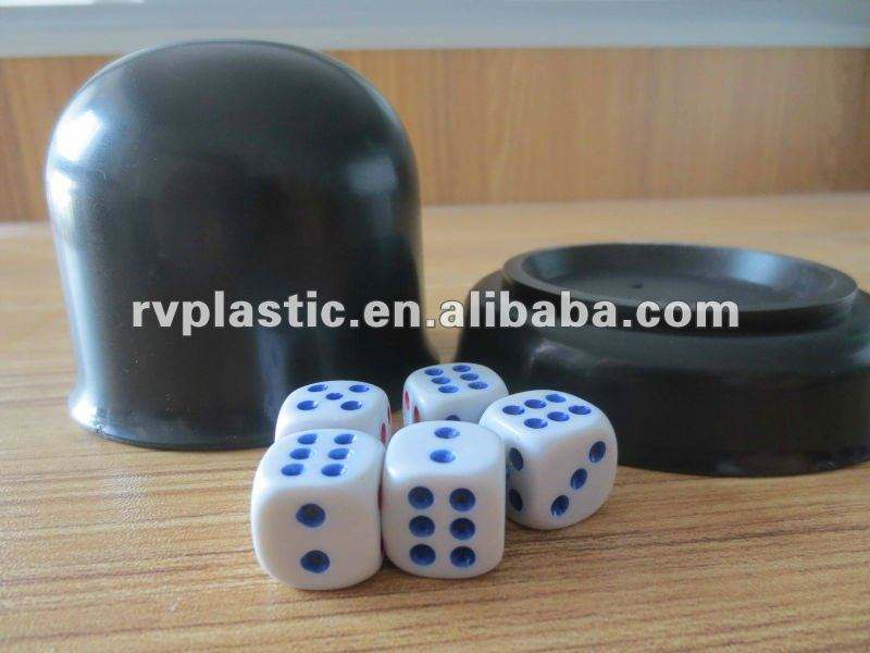 Casino Luck Games Plastic Black Dice Shaker Cup with 5 dices