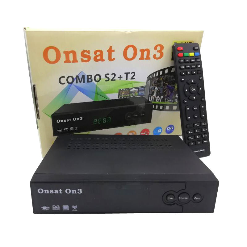 ONSAT ON3 Combo dvb-t2 dvb-s2 위성 수신기 H.264 PowerVu Biss 키 Ccam Newam Youtube 동영상의 USB Wifi 1080 마력 풀 HD