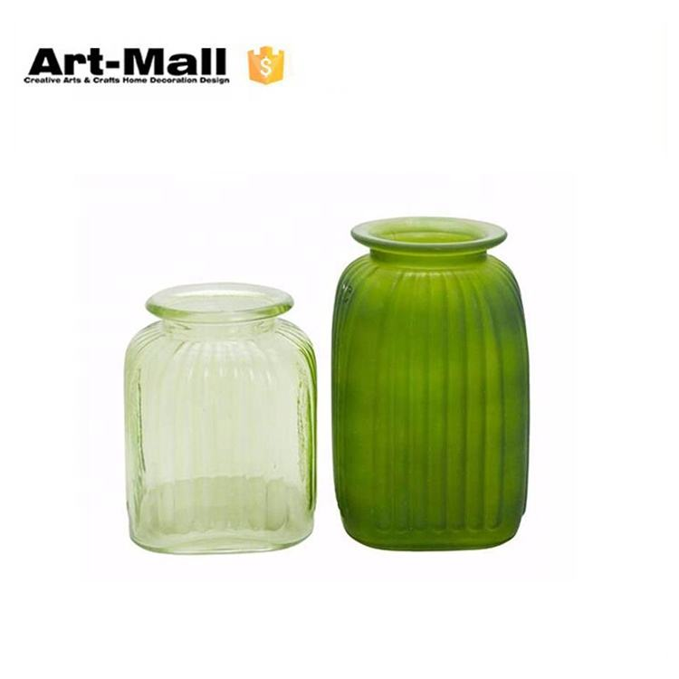 Wide mouth two sizes green stripe pattern flower glass vase for decoration