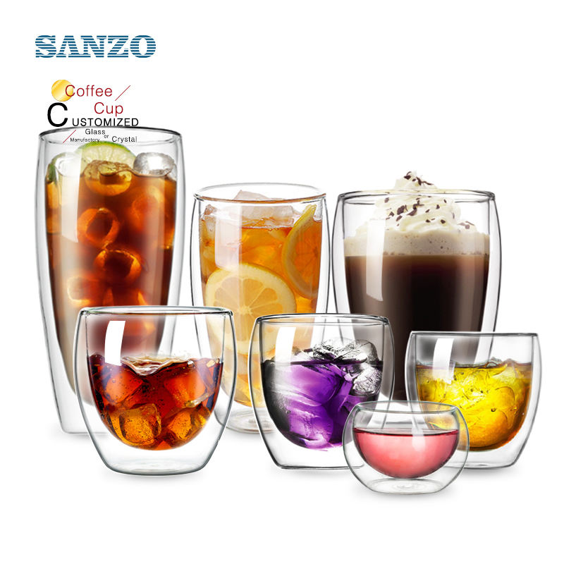 Custom Glassware Manufacturer Wholesale hand-made Coffee Cup Double Wall Glass Cup