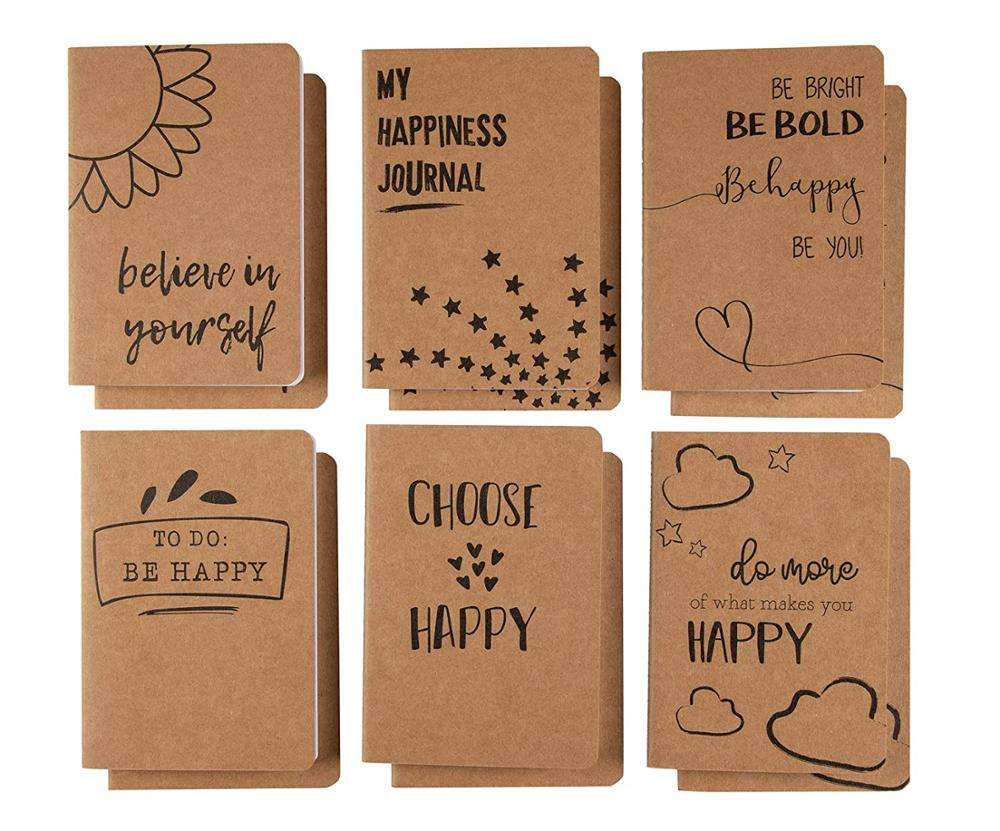 Lined Pocket Notebook, Travel Journal Notes, 6 Different Happiness Designs, Soft Cover, 80 Pages, Brown, A6,