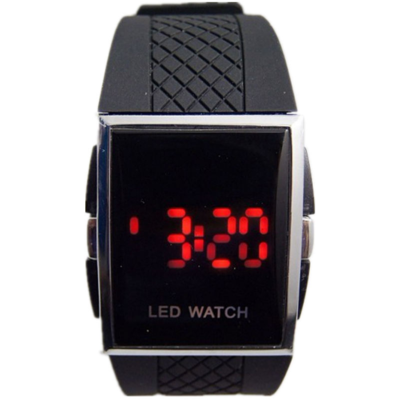 hot sales fashion red led watches Simple Designer Easy Using PU plastic band Men's and Women's Red/blue Led Digital watches
